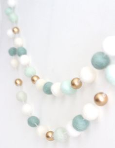 Mint and Gold Felt Ball Garland Mint Nursery by SheepFarmFelt