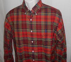 RALPH LAUREN Casual Shirt Men Size L Oxford CLASSIC FIT Red Green Plaid Long Slv #RalphLauren #ButtonFront