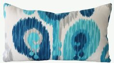Decorative Designer Indoor Outdoor Ikat Abstract Paisley Pillow Cover, Turquoise, Blue, Grey, Lumbar Throw Pillow via Etsy