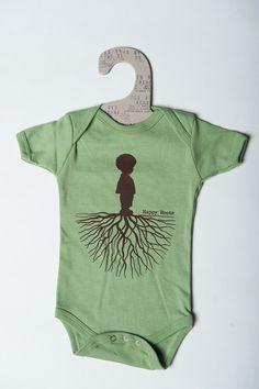 """Organic """"Happy Roots"""" Baby Onesie"""