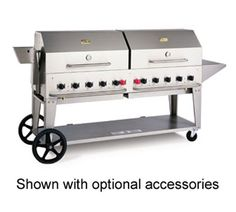 """Crown Verity Charbroiler Lp Gas - #MCB-72LP    Outdoor Charbroiler, LP gas, 70""""x21"""" grill area, 10 burners, 304 s/s const., s/s grill, radiants, lighter tube (pilot), water pan, incl. hose & regulator, undershelf, legs with (2) 14"""" wheels & (2) total lock casters, 159,000 BTU"""