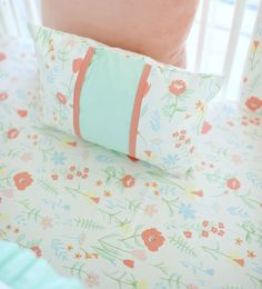 Peach & Mint Throw Pillow | Spring Floral Crib Collection