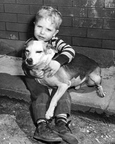 Gary Grahn, 2, and his dog Pepper in March 1952. When Gary got lost, Pepper protected him until the police found him. THE WORLD-HERALD