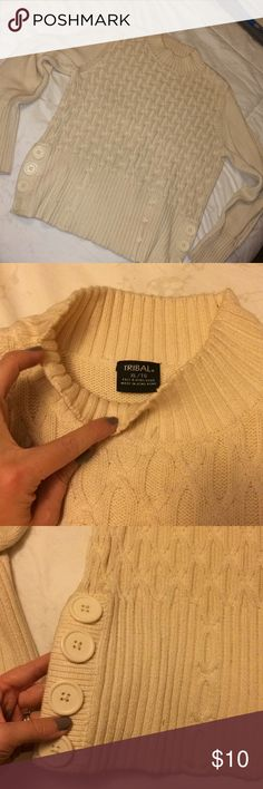 Women's cream Tribal sweater Women's cream Tribal sweater. Cream with button detailing on both sides. Good used condition Tribal Sweaters