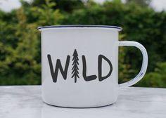 Wild | Hiking Mug | Tree Enamel Mug | Hiking Enamel Camping Mug