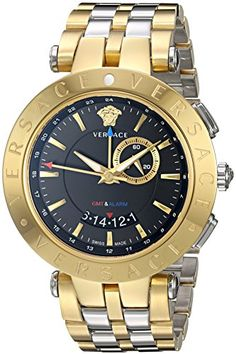 Men's Wrist Watches - Versace Mens VRace GMT Alarm Yellow GoldStainless steel Watch >>> Continue to the product at the image link.
