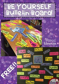 Be Yourself Bulletin Board: FREE low-prep display - print on bright paper, trim on paper cutter, staple to your board! Inspire your students and staff with this uplifting bulletin board! School Welcome Bulletin Boards, Staff Bulletin Boards, Teacher Freebies, Classroom Freebies, Elementary School Library, Elementary Schools, Middle School Decor, Beginning Of School, Sunday School