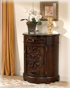 Traditional Dark Brown Norcastle Accent Cabinet Table