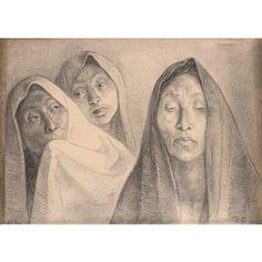 Tres cabezas con rebozos by Francisco Zúñiga