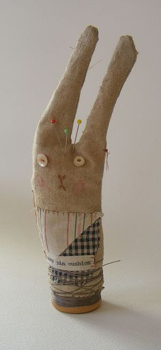 bunny pin cushion- use card rolls to build over for sculpture project