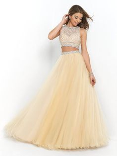Two Piece Ball Gown High Neck Sleeveless Beading Floor-length Net Dresses - Two Piece Prom Dresses - Prom Dresses - Sweet Dressy