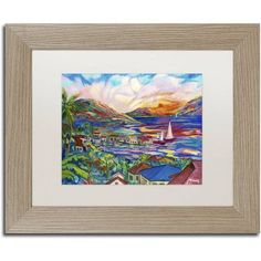 Trademark Fine Art Sunset Canvas Art by Manor Shadian White Matte, Birch Frame, Size: 11 x 14, Multicolor