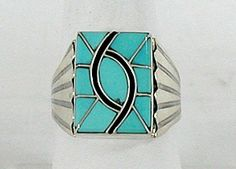Native American Navajo Sterling Silver Turquoise inlay ring  ~want, love, must have...