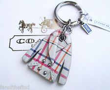 NWT Coach Leather Studded Tattersall Peacoat Key Fob Keychain Charm