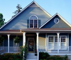 House colors from Dutch Boy:   Siding (main): Lone Wolf Siding (accent): Thunder Storm Front door: Hunter Green Trim: White C3-4