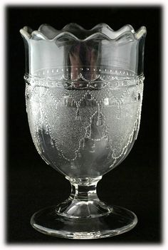 Drapery EAPG Boston and Sandwich Spooner Antique Pressed Glass Lace Doyle