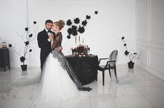 Black and white wedding dress for A Magic Black Wedding Inspiration Shoot Black White Wedding Dress, Black Wedding Gowns, Black Wedding Cakes, Gothic Wedding, Wedding Cupcakes, Gold Wedding, Wedding Shoot, Dream Wedding, All Black Dresses