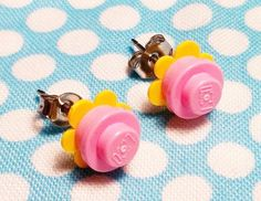 yellow and pink lego flower earrings