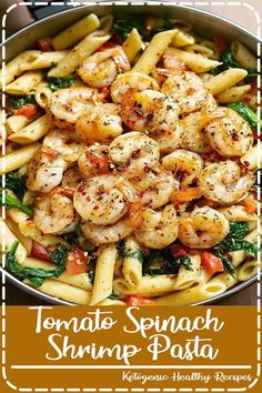 Tomaten-Spinat-Garnelen-Nudeln Tomato Spinach Shrimp Pasta Recipe - Incredibly COMFORTABLE and simply stunning! Loaded with tomatoes, spinach and basil. Shrimp Pasta Recipes, Easy Pasta Recipes, Seafood Recipes, Healthy Dinner Recipes, Gourmet Recipes, Easy Meals, Crab Pasta, Recipe Pasta, Cooking Recipes