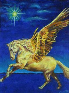 "Saatchi Art Artist Nikola Golubovski; Painting, ""Pegasus"" #art_____in stock 380 $"