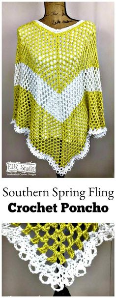 Southern Spring Fling Crochet Poncho - 20 Free Crochet Summer Poncho Patterns for Women's - DIY & Crafts Crochet Poncho Patterns, Crochet Shawls And Wraps, Crochet Scarves, Crochet Yarn, Free Crochet, Knitting Patterns, Crochet Clothes, Crochet Hooks, Crochet Girls