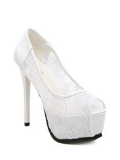 Lace Platform Stiletto Heel Peep Toe Shoes - WHITE 34