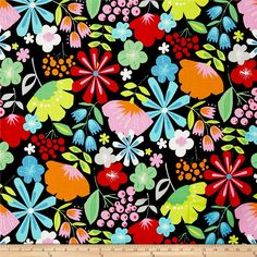 Alexander Henry Everyday Eden Pretty Poppy Black from @fabricdotcom  Designed by De Leon Design Group for Alexander Henry Fabrics, this cotton print is perfect for apparel, quilting and home decor accents. Colors include white, orange, aqua, pink, green, yellow, red, black and grey.