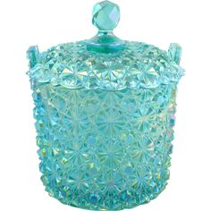 Fenton Iridized Daisy Button Candy Box Persian Blue Museum Collection With…