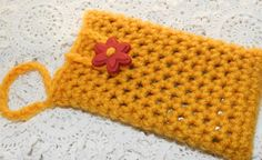 Hand Crochet Cell Phone Cozy Case Honey Mustard by picoloknitting, $11.00