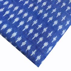 Denim Blue and White Ikat in diamond weaving - handloom cotton fabric by yard. Ikat Fabric, Cotton Fabric, Ikat Pillows, Colourful Outfits, Blue Denim, Weaving, Blue And White, Color, Fabrics