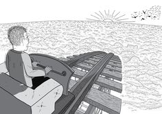Rear view over the shoulder of man in roller coaster car that is about to roll down a slope. The man looks nervous, and is gripping the handle tightly. Black and white drawing of roller coaster slope. Above the clouds at sunset.  Image from Stuart McMillen's comic Peak Oil (2015), from the book Thermoeconomics (2017).