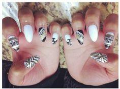 Nail art, tribal stiletto nails