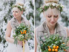 winter flower crown & bouquet