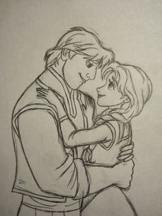 Never Grow Up: A Mom's Guide to Dolls and More!-My drawing of Kristoff and Anna in pencil and pen.