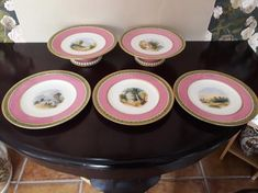 Set of Antique Dessert Tazze and plates Fruit Plate, Country Scenes, Gold Hands, Gold Paint, Makers Mark, Pink And Gold, Tea Time, Decorative Plates, My Etsy Shop
