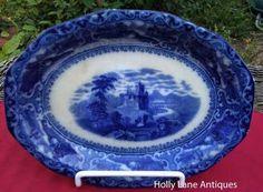 Antique Flow Blue Oval Platter Watteau Pattern