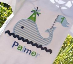 Boys Personalized Appliqued Birthday Whale by lilshabebe on Etsy, $16.95