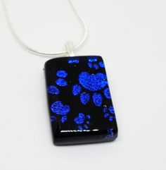 Purple Paw Prints Pendant, Dichroic Glass, Dog Lover Gift, Birthday Present for Sister, Mums Mothers Day Present, Thank You Gift For Her