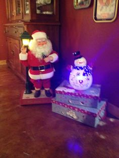 My antique Santa, he still moves and waves, and magical Frosty