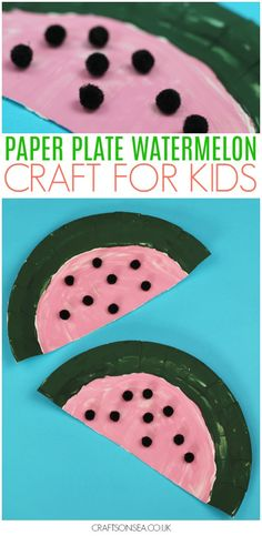 This paper plate watermelon craft for kids is super simple but super cute - a really fun summer craft for kids! Great for helping with scissor skills and fine motor skills too. #kidscrafts #kidsactivities #preschool #prek #toddler