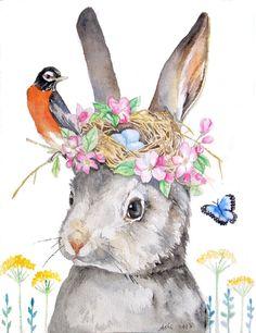 ooak-Original Rabbit and Robin Nest Illustration Art 8 x 10