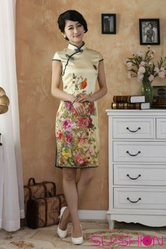 beb6e7078 Yellow floral blossom silk capped qipao dress_Traditional qipao_Oriental  styles_Custom-made Cheongsam,Qipao,Chinese clothes,chinese clothing.