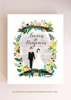 Custom Couple Illustration Couple Wedding by mintybasildesign