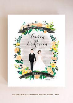Custom Couple Illustration Couple Wedding by mintybasildesign