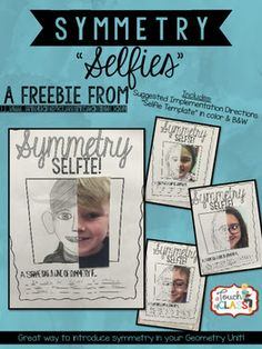 Geometry - Symmetry Selfies - Fun, Finish The. by A Touch of Class Teaching Symmetry Math, Symmetry Activities, Math Activities, Math Art, Fun Math, 1st Grade Math, Grade 3, Fourth Grade, Third Grade