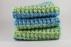 Hand Knit Dishcloth Set  Hand Knit Washcloth  by HandKnittingLinda