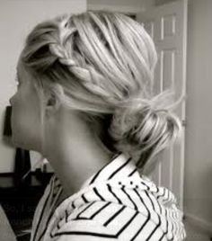 I always love to do this hairstyle when I am having a bad hair day! It's really cute and super easy! All you need to do is take a small section of hair in front and braid it back, the put it up in a messy bun! I always like to have a couple hairs come down so that it frames my face!:)