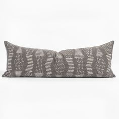 This beautiful dark, silvery graphite lumbar pillow will add the graphic impact your space is craving. The large scale pattern of dots and dashes has a hand loomed, artisanal quality with a nubbly slub that is slightly reminiscent of raw silk. It's sure to deliver a warm, organic texture and worldly appeal to any space. Lumbar Pillow, Bed Pillows, Kitchen Banquette, Entry Bench, Simple Bed, Large Sofa, Pillow Inserts, Tapestry, Graphite