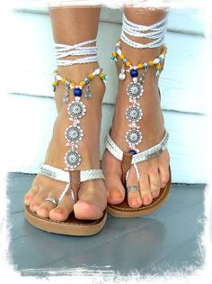 Special listing for Val BAREFOOT Sandals Toe Anklet WHITE bridal Jewelry Crochet Sandal Garden Wedding Photo shoot props Yellow Pink GPyoga