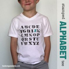 stamped alphabet t-shirt {first day of school outfit} - It's Always Autumn